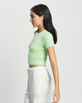 Glamorous Fluffy Knit Top - Cropped tops (Soft Lime)