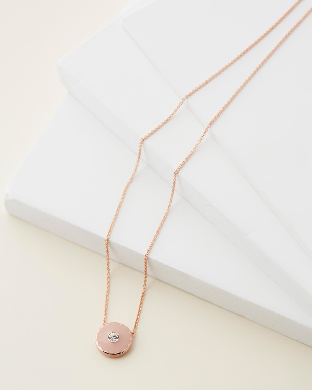 The Marc Jacobs Medallion Pendant Necklace Jewellery Peach & Rose Gold