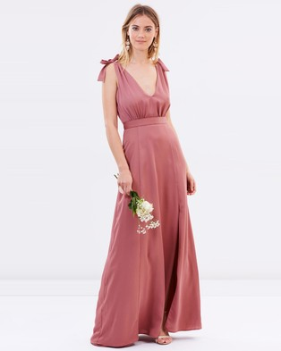 Atmos & Here – Amelie V Neck Maxi Dress – Bridesmaid Dresses (Rose Dust)
