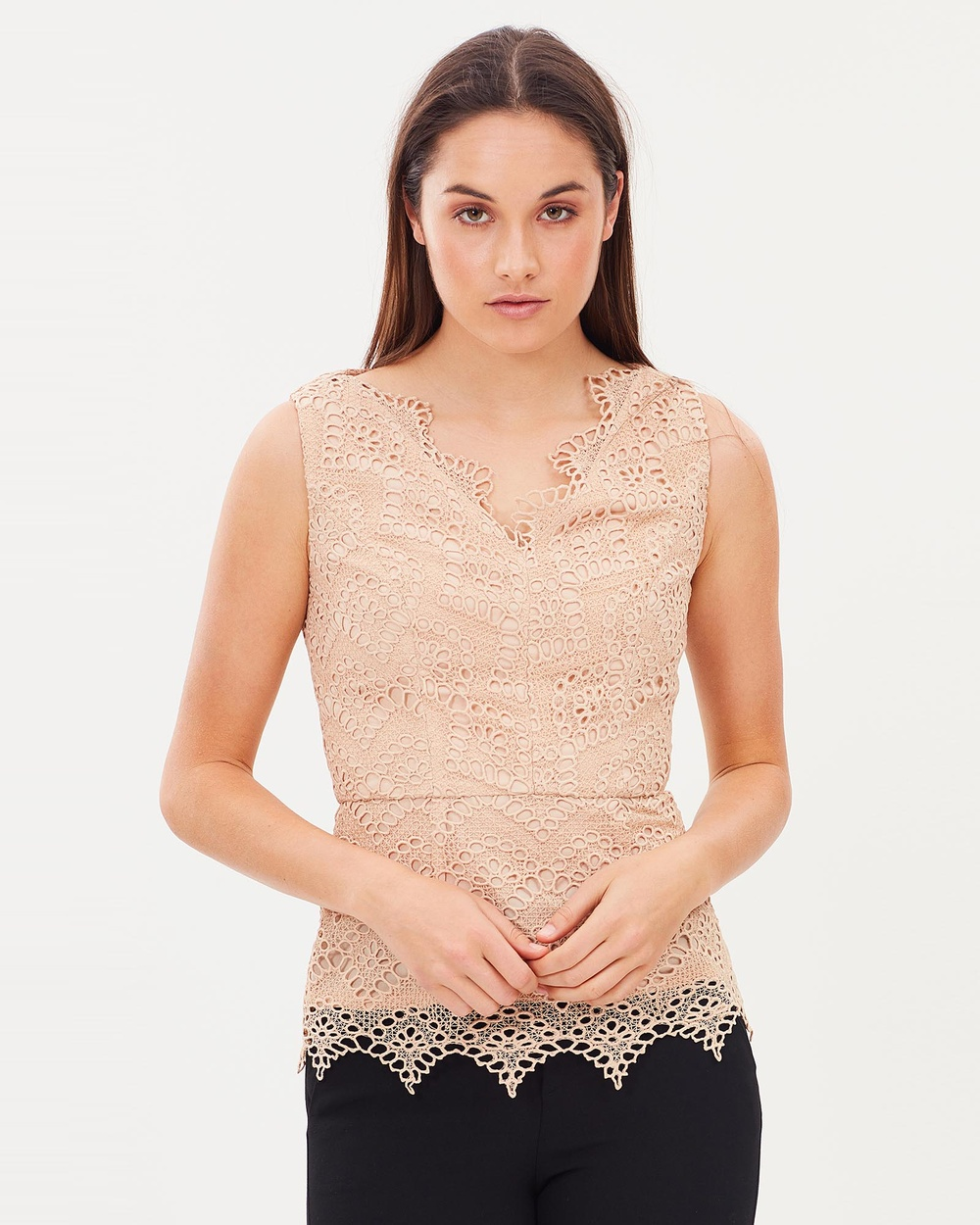 Pink Ruby Maple Lace Top Tops Gold Maple Lace Top