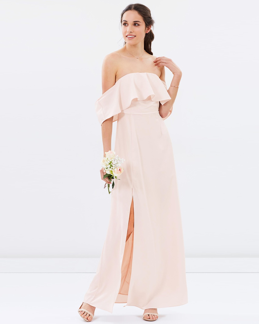 Atmos & Here ICONIC EXCLUSIVE Aurora Off Shoulder Maxi Dress Bridesmaid Dresses Champagne ICONIC EXCLUSIVE Aurora Off Shoulder Maxi Dress
