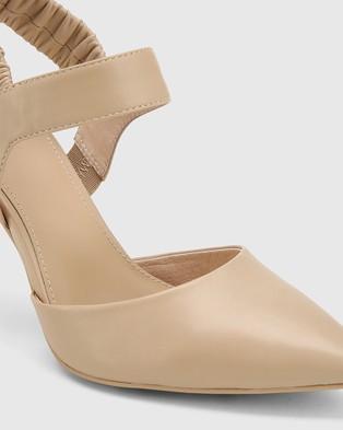 Wittner Hanira Leather Elastic Slingback Stilettos - Heels (Beige)