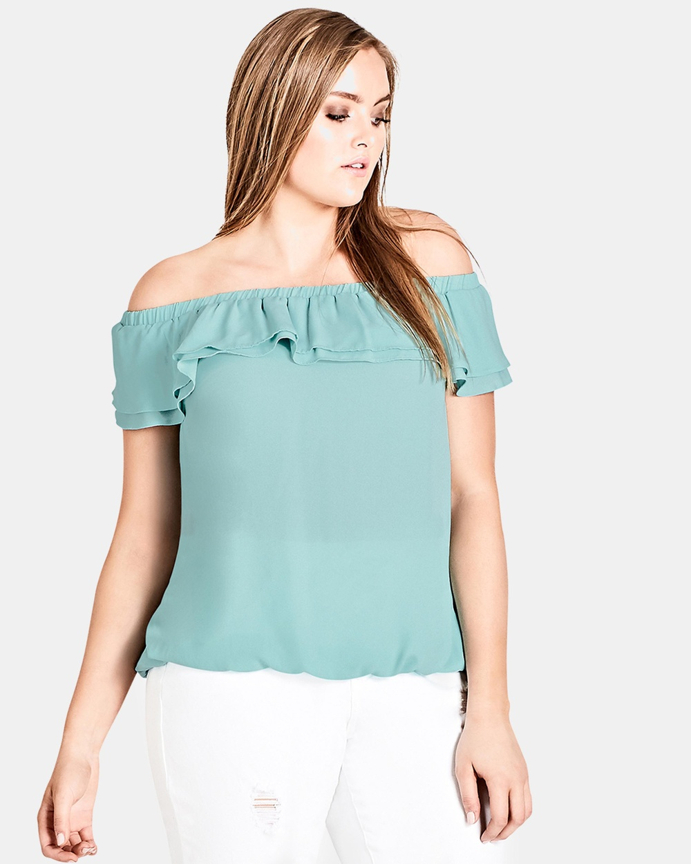 City Chic Cascade Shoulder Top Tops Mint Cascade Shoulder Top