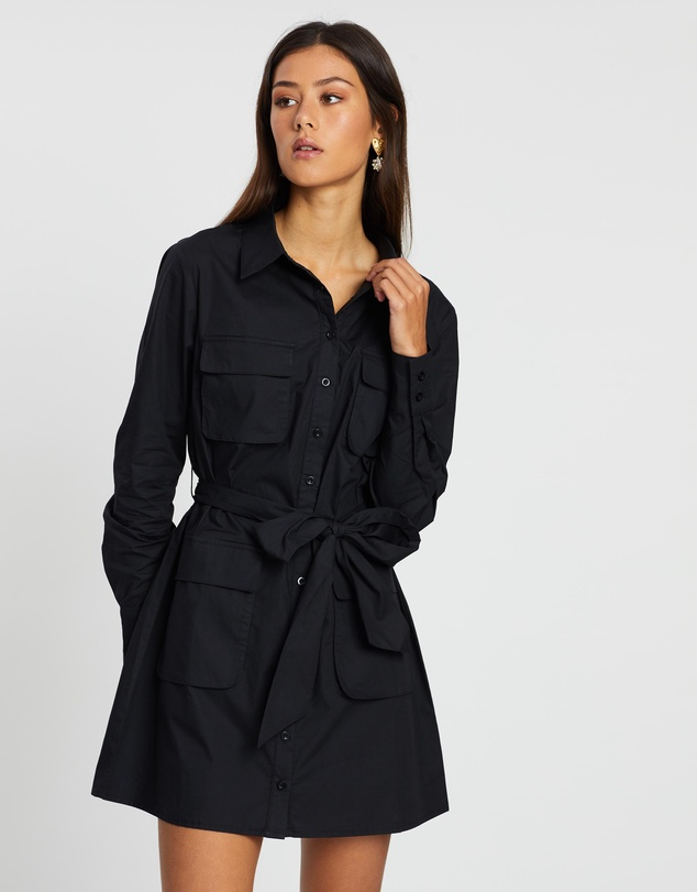 Dazie - Talk It Out Utility Shirt Dress