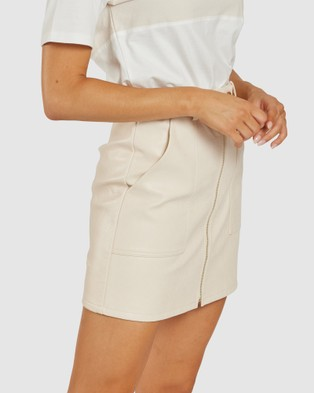 Apero Label Sophia Faux Leather Skirt - Leather skirts (Cream)