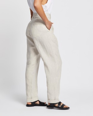 AERE - Linen Tapered Pants - Pants (Neutral) Linen Tapered Pants