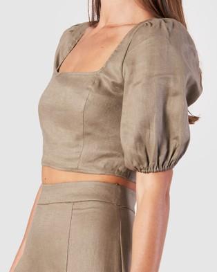 Amelius - Violetta Crop Top Cropped tops (Khaki)