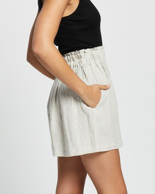 AERE Linen Lounge Shorts - High-Waisted (Neutral)