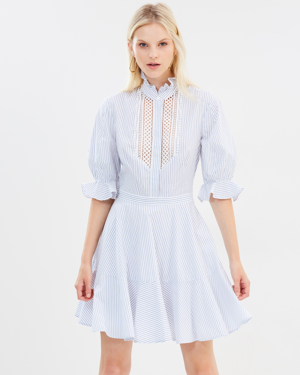 Lover Abbey Trim Dress Dresses White & Blue Abbey Trim Dress