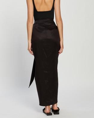 BONDI BORN Tie Front Draped Skirt - Skirts (Black)