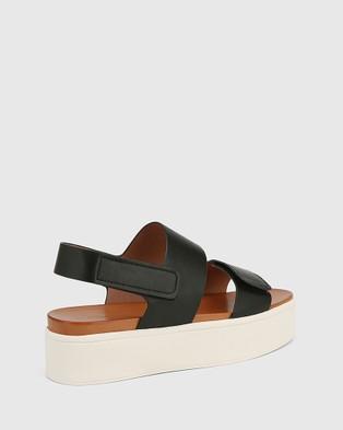 Wittner Jolly Leather Slingback Flatform Sandals - Wedges (Black)