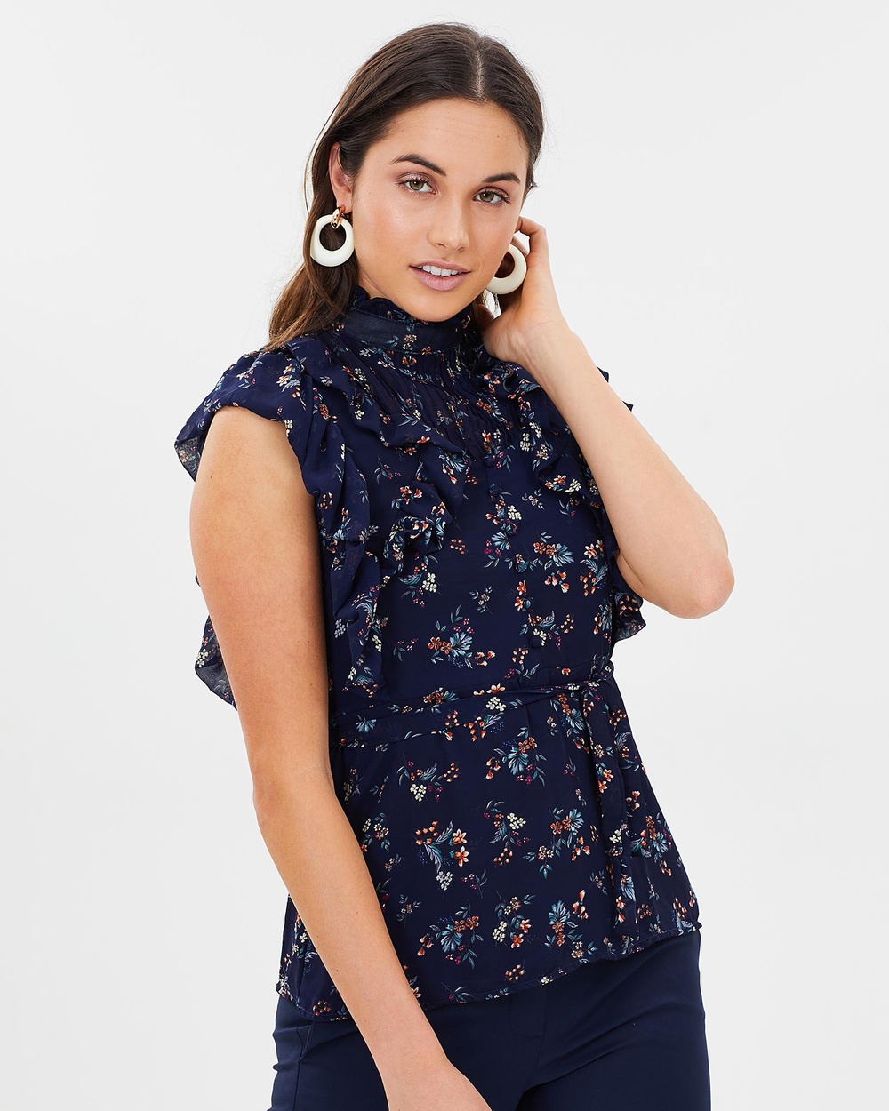 ALPHA-BE The Butterfly Effect Sleeveless Top in Blue Tops Blue The Butterfly Effect Sleeveless Top in Blue