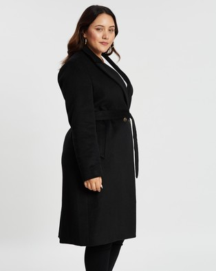 Atmos&Here Curvy Amelia Wool Blend Coat - Coats & Jackets (Black)
