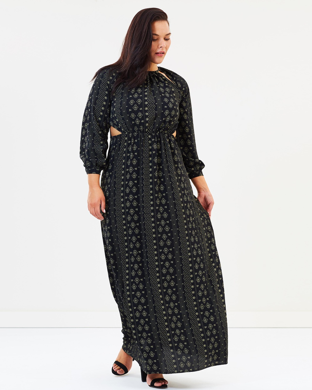 Atmos & Here Curvy ICONIC EXCLUSIVE Annabelle Maxi Dress Printed Dresses Dark Tile ICONIC EXCLUSIVE Annabelle Maxi Dress