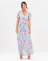 Dorothy Perkins - Printed Lace Waist Ruffle Maxi Dress
