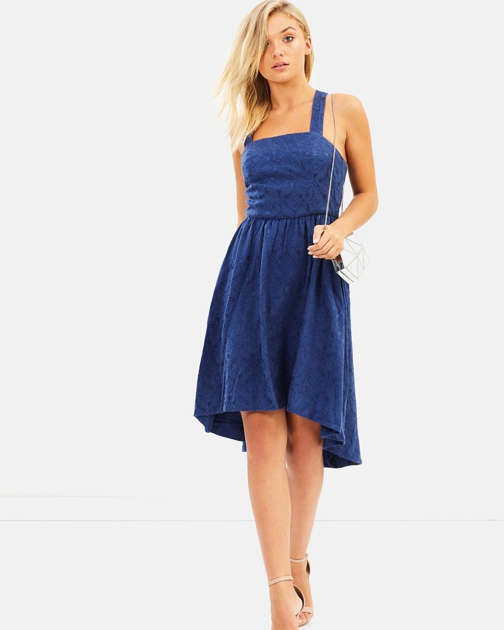Atmos & Here ICONIC EXCLUSIVE Kenzie Midi Dress Dresses Blue Brocade ICONIC EXCLUSIVE Kenzie Midi Dress
