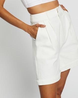 AERE Longline Organic Cotton Shorts High-Waisted Off White