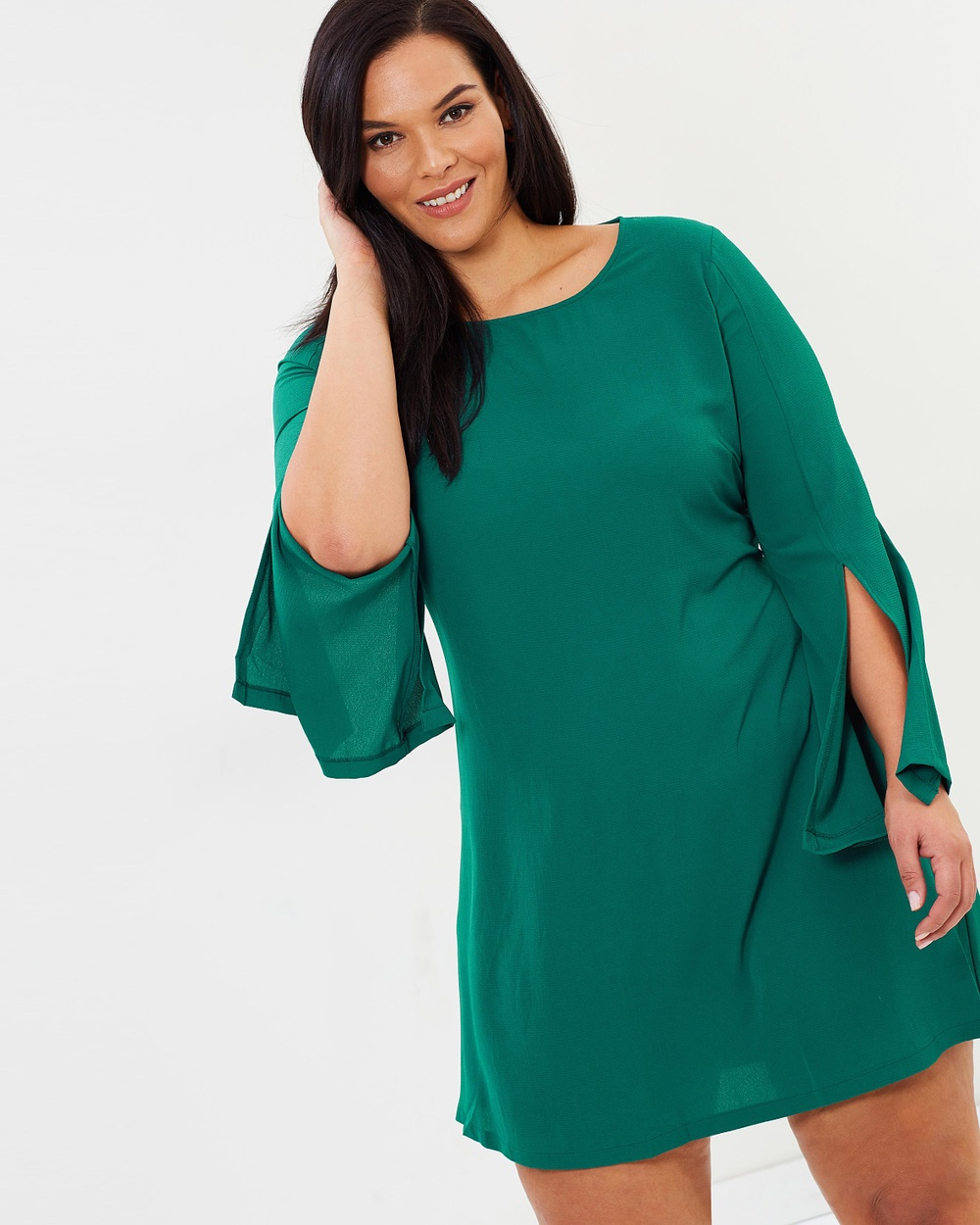 Atmos & Here Curvy ICONIC EXCLUSIVE Gabrielle Fluted Sleeve Mini Dress Dresses Emerald ICONIC EXCLUSIVE Gabrielle Fluted Sleeve Mini Dress