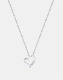 Elli Jewelry - Necklace 925 Sterling Silver Heart Eternity Diamond
