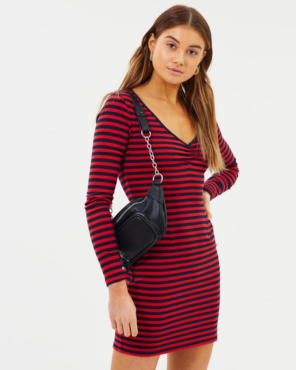 Dazie Chase Cotton Rib Bodycon Dress Bodycon Dresses Red & Navy Chase Cotton Rib Bodycon Dress