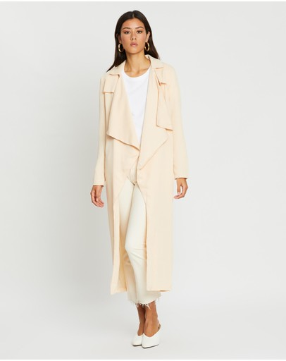 Missguided Textured Waterfall Coat Peach