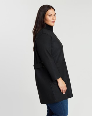 Atmos&Here Curvy Wool Blend Coat - Coats & Jackets (Black)