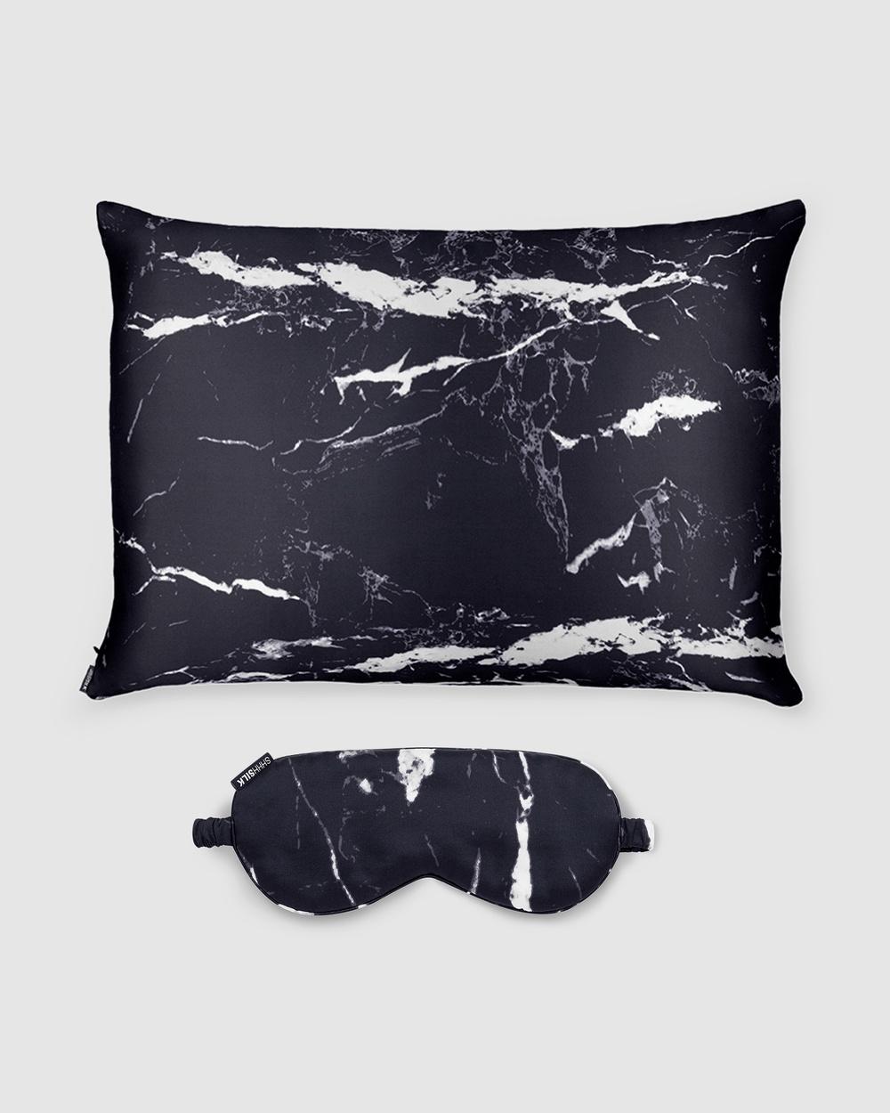 Shhh Silk Eye Mask and Pillowcase Sleep Black Marble