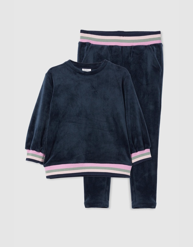 Milky - Velour Tipping Sweat & Pants Set - Babies