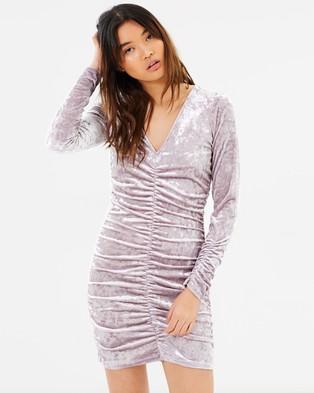 Miss Selfridge – Velvet Rouched Dress – Bodycon Dresses Lilac