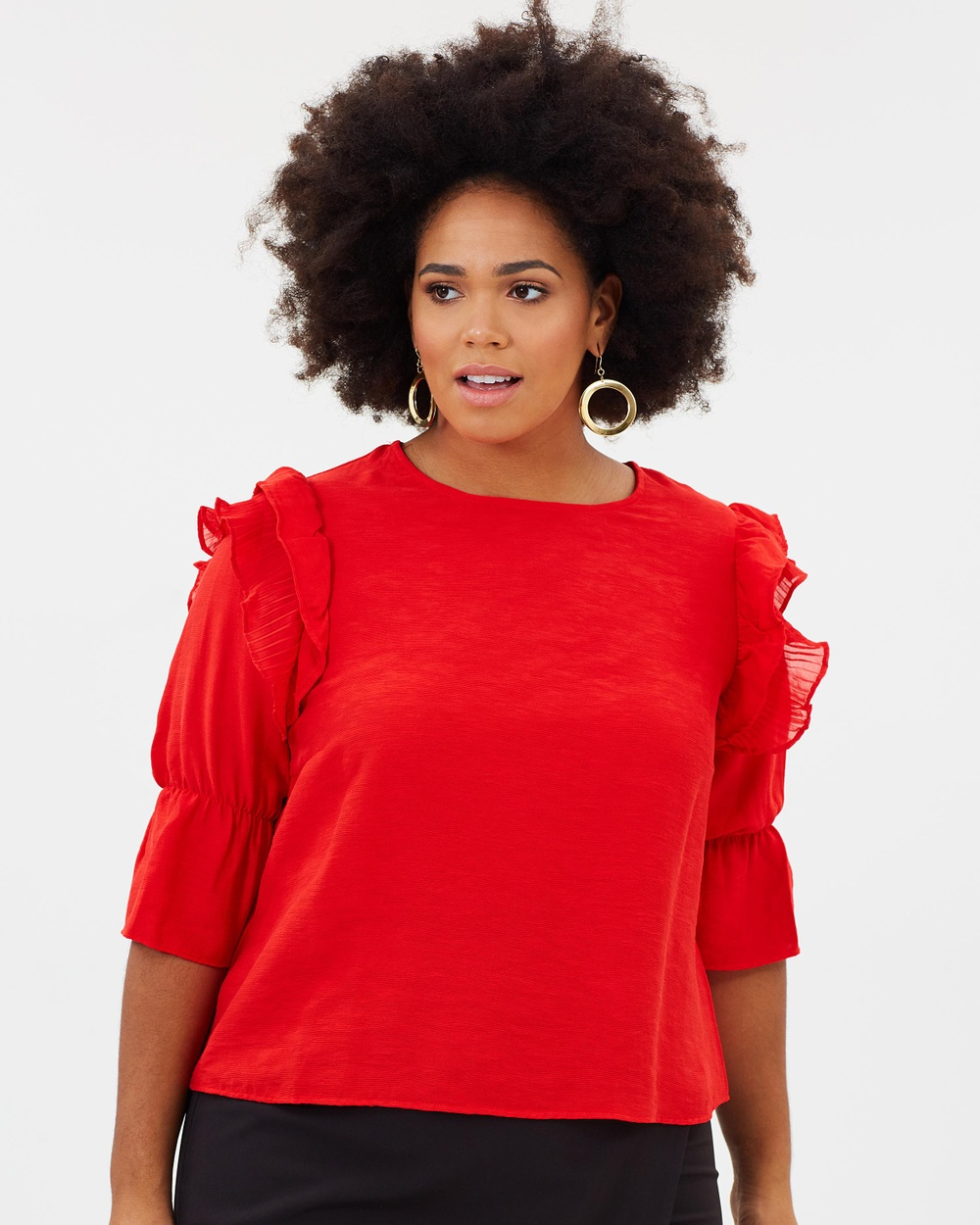 Lost Ink Plus Top with Pleated Trim Sleeve Tops Red Top with Pleated Trim Sleeve