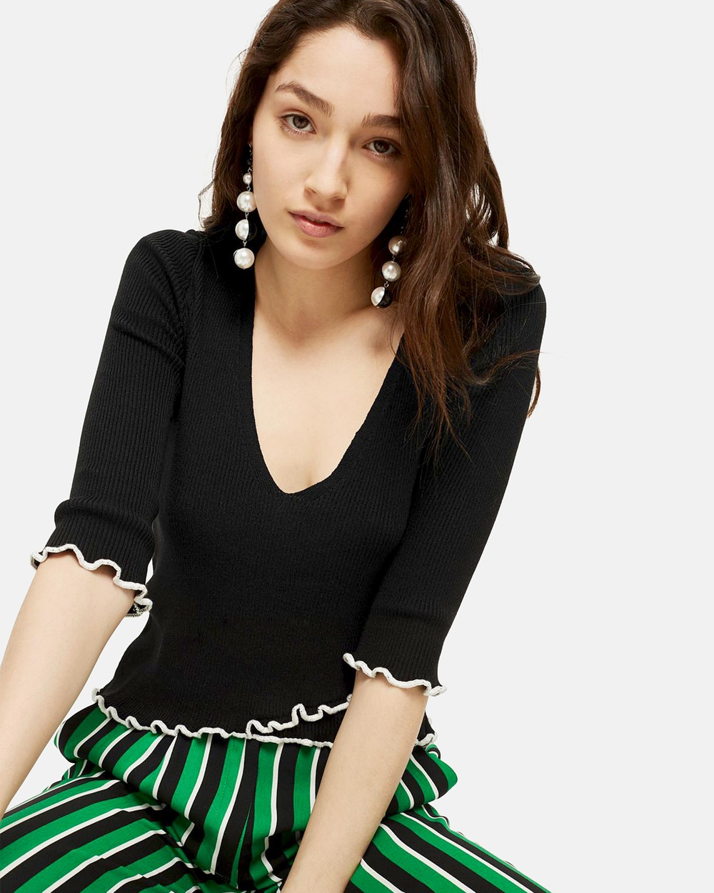TOPSHOP Wrap Front Top Cropped tops Black Wrap Front Top
