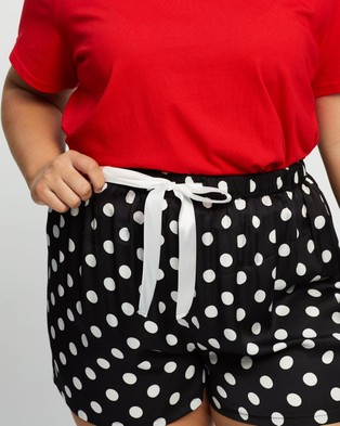 Atmos&Here Curvy Sleepwear Shorts Black & White Spot