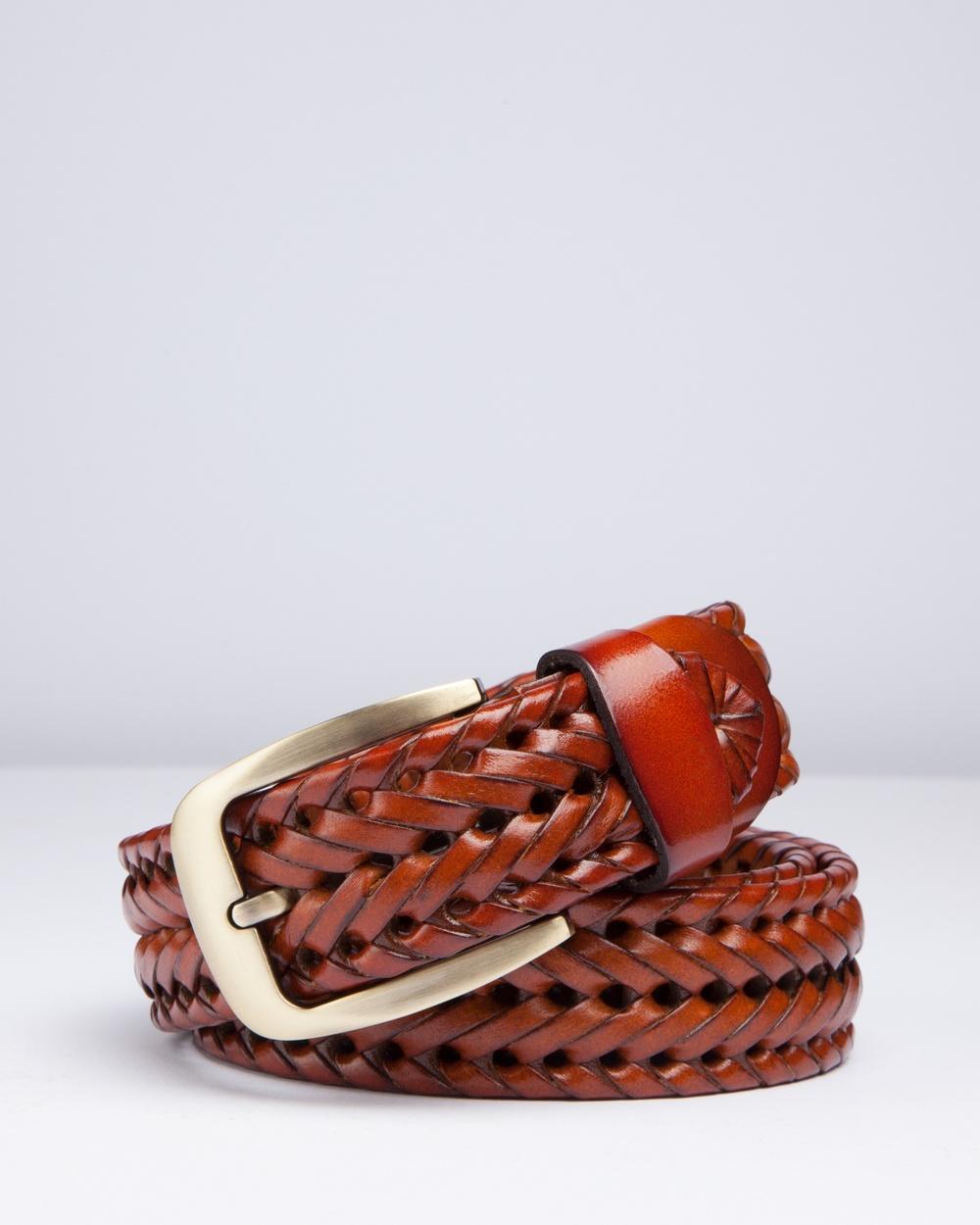 RUMI Braided Tan Leather Belt Belts Brown