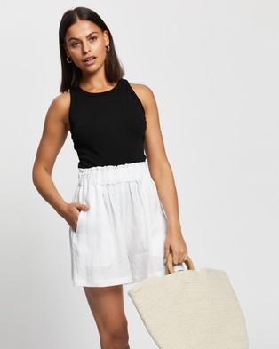 AERE Linen Lounge Shorts High-Waisted White