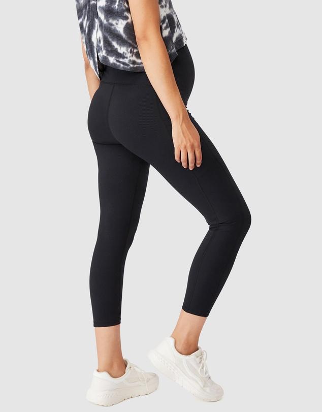 Women Maternity Rib Pocket 7/8 Tights