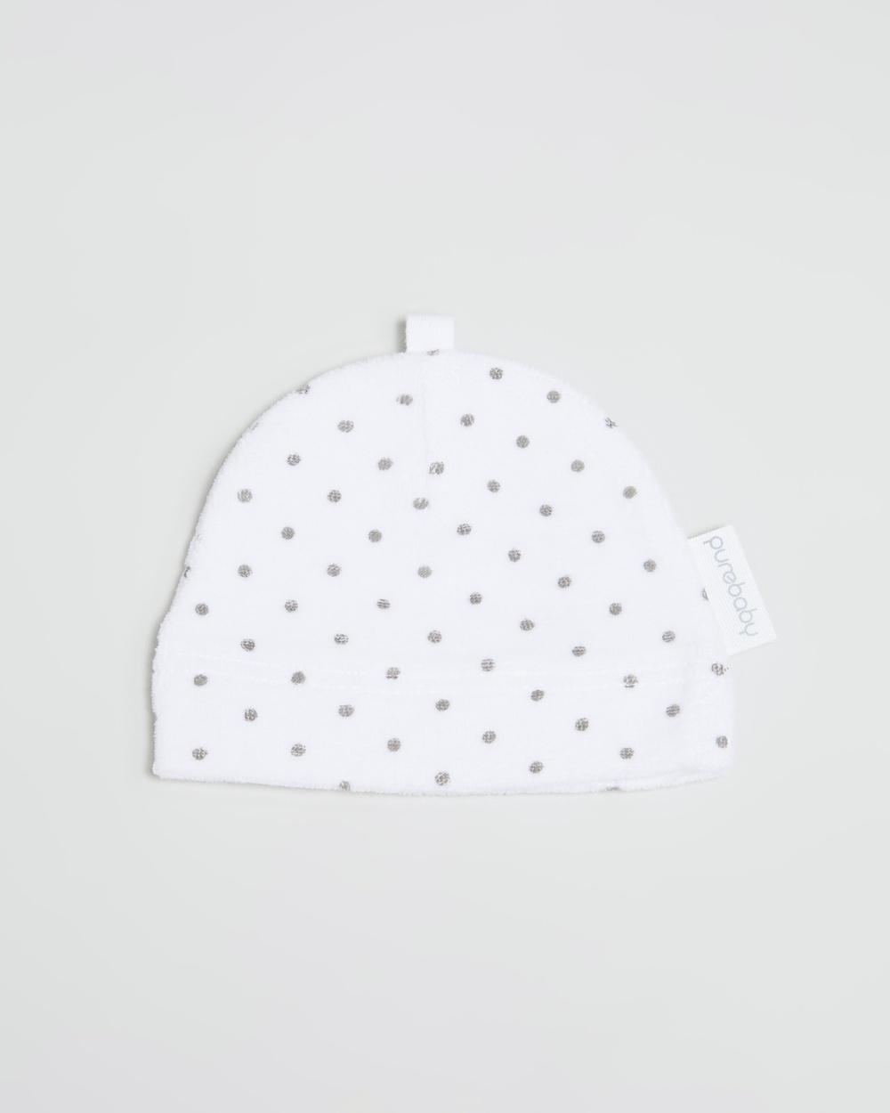 Purebaby Premie Hat Babies Headwear White & Grey Spot