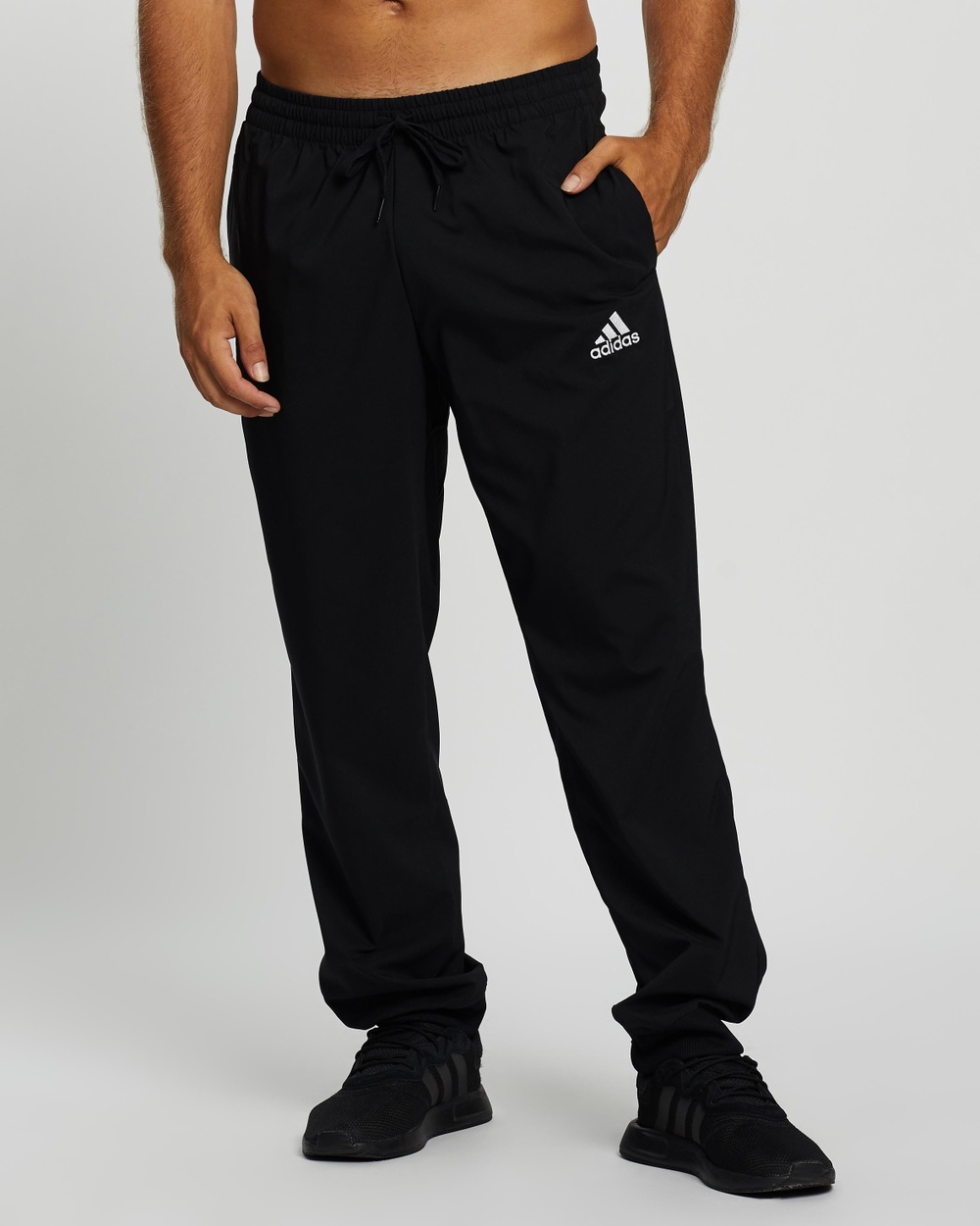 adidas Performance Essentials Stanford Tapered Cuff Embroidered Small Logo Pants Track Black