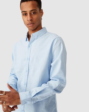 Cotton On Linen Cotton Long Sleeve Shirt - Casual shirts (Bright Sky)