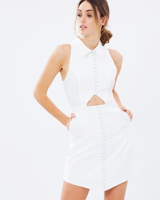 C/MEO COLLECTIVE – Let It Go SS Shirting Dress – Dresses (White)