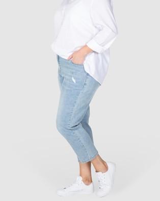 Love Your Wardrobe Jordyn Washed Out Stretch Jeans - Crop (Indigo)
