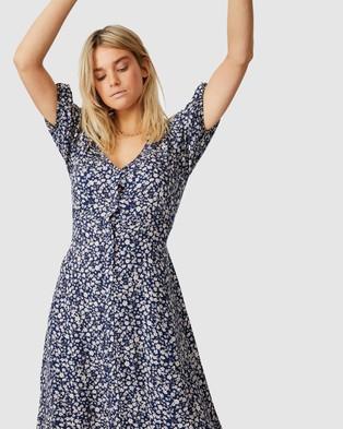 Cotton On Woven Clara Button Through Midi Dress - Printed Dresses (Kayla Ditsy Total Eclipse)