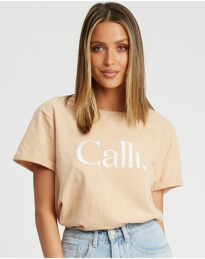 Calli Embroidered T-shirt Sand - White