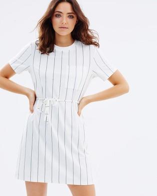 MINKPINK – Stripe Tee Dress – Dresses (White & Grey)