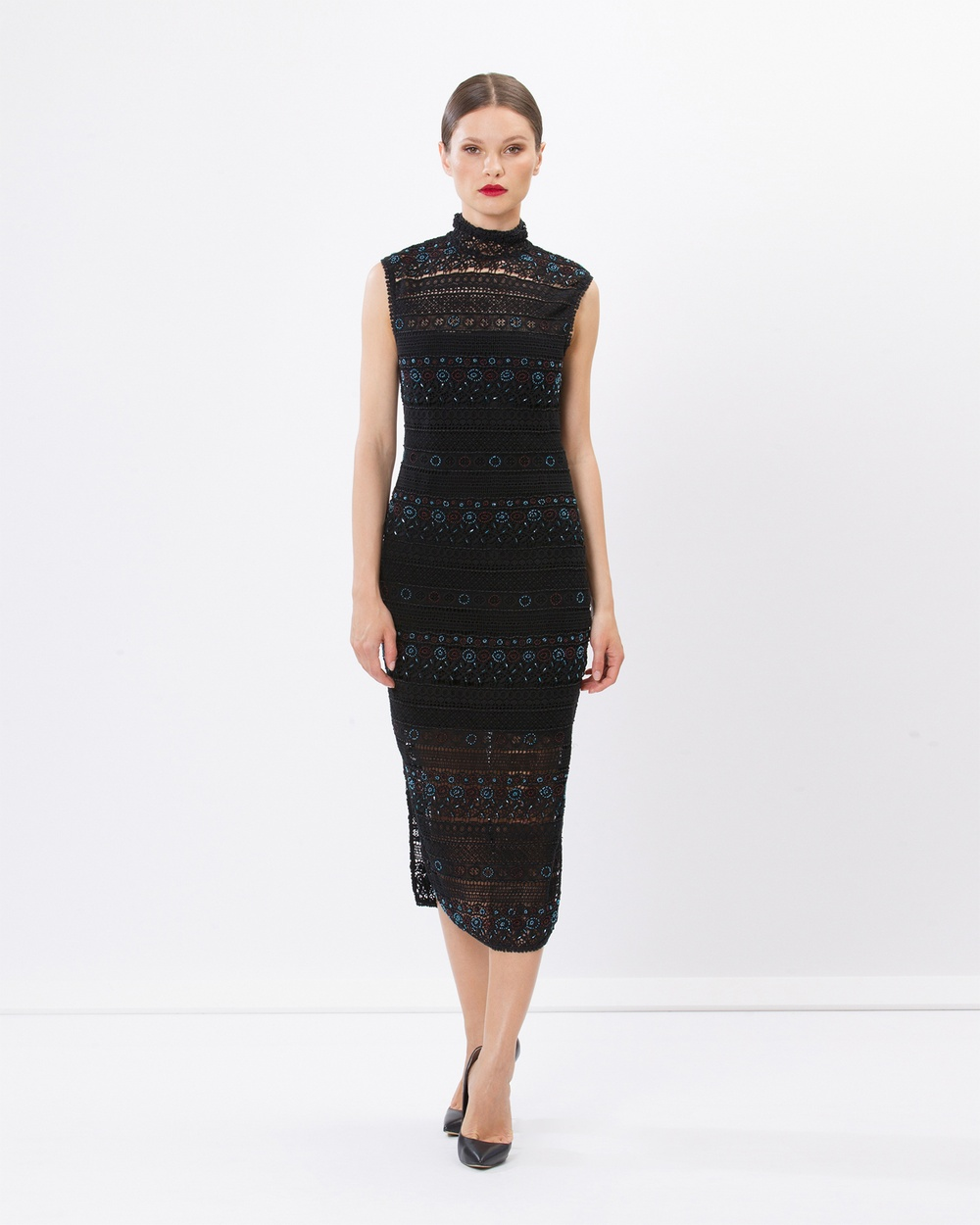 SIYONA Rihanna Lace Beaded Dress Dresses Black Rihanna Lace Beaded Dress