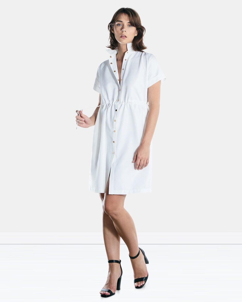 The Rushing Hour White Brooklyn Poplin Shirt Dress