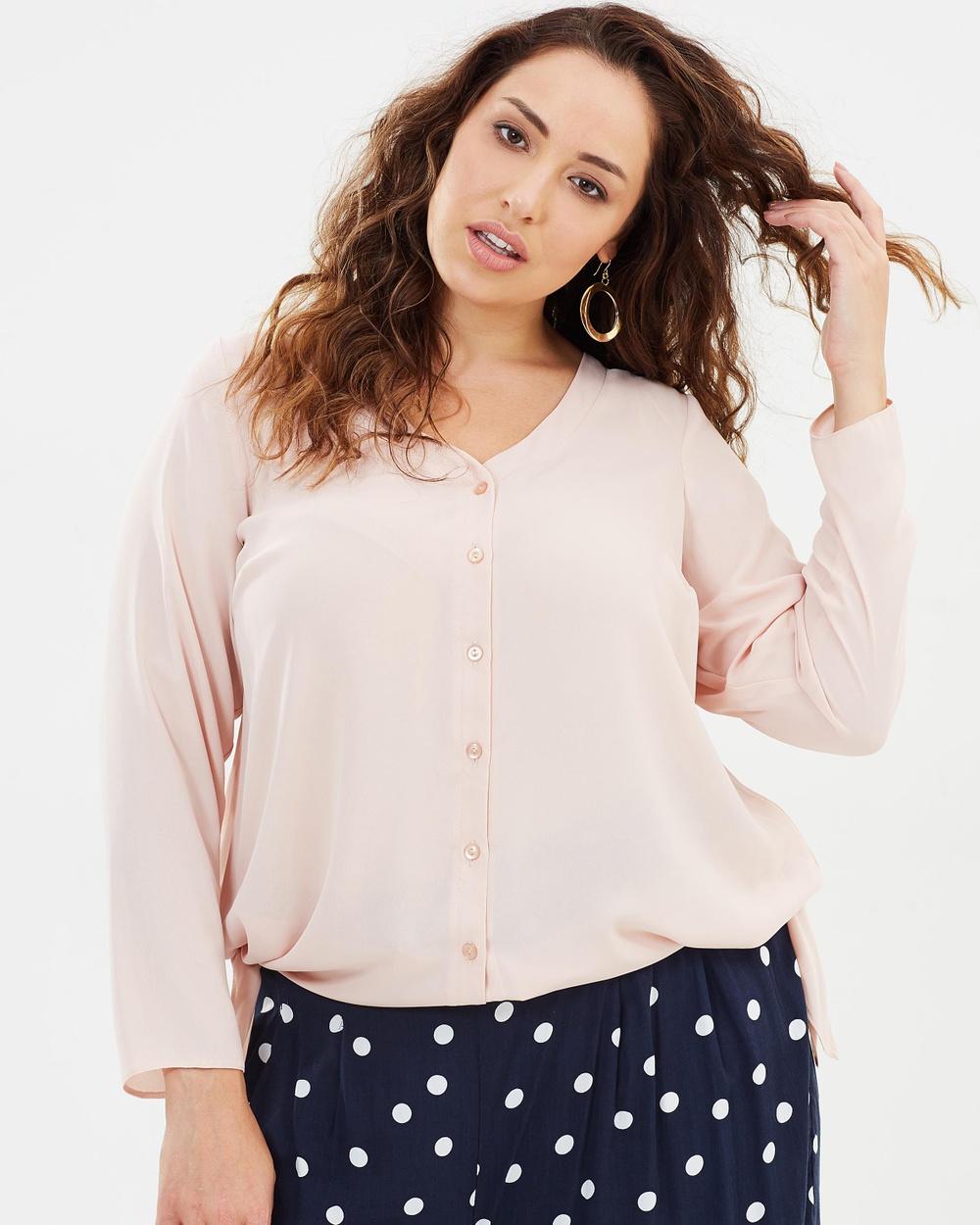 EVANS Hanky Hem Shirt Tops Pink Hanky Hem Shirt