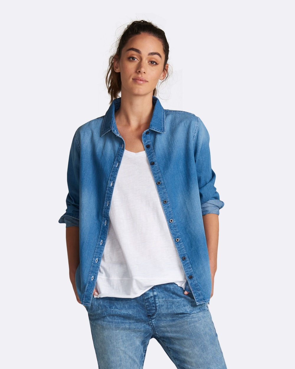 jac + mooki Indiana Shirt Tops Denim Indiana Shirt
