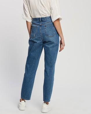 Atmos&Here Martha Recycled Cotton Blend Denim Mom Jeans - Mom Jeans (Vintage Origin Blue)