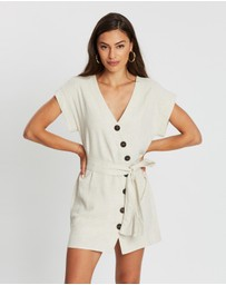Atmos&Here - Azulki Linen Blend Button Dress