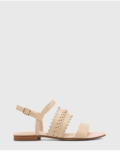 Wittner Christina Leather Open Toe Flat Sandals Beige